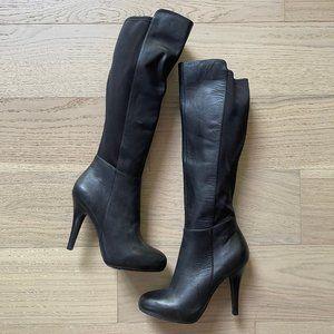 me too Black Leather Heeled Knee Boots (Like New)